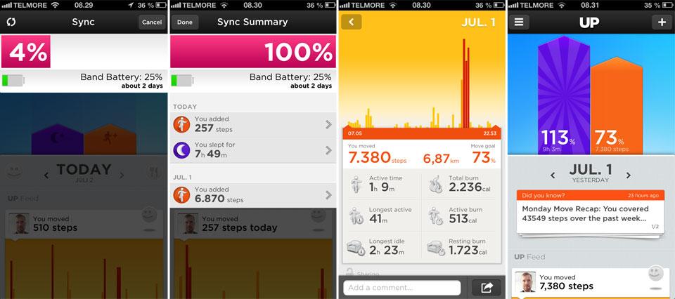Armbåndet synkroniseres hurtigt og giver dig dagens tal og statistikker