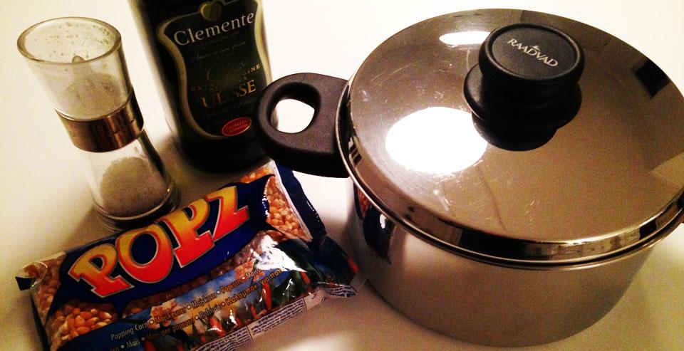 Ingredienser til Popcorn i gryde